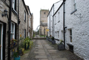 Church Street, Kirkby Lonsdale, leading to the Church of the Virgin St. Mary and also to The Sun Inn