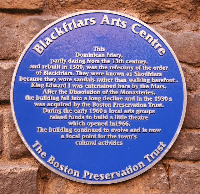 The plaque outside Blackfriar's