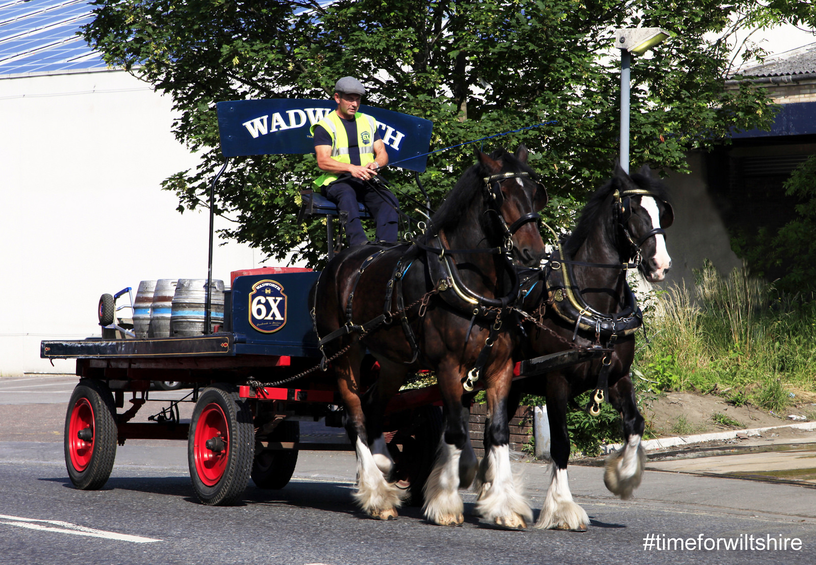 Shire horses delivery casks of ale (c)visitwiltshire.co.uk