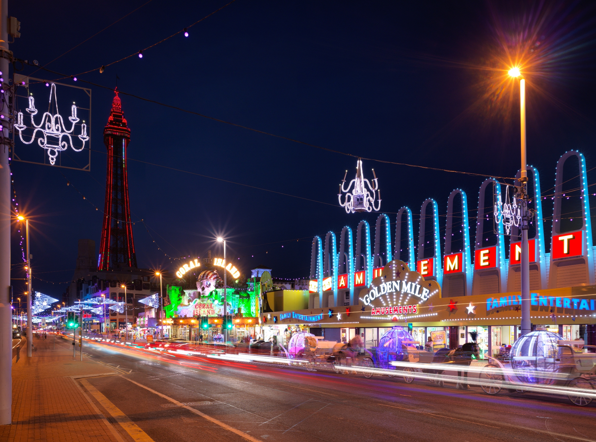 Blackpool's golden Mile at night in the illuminations