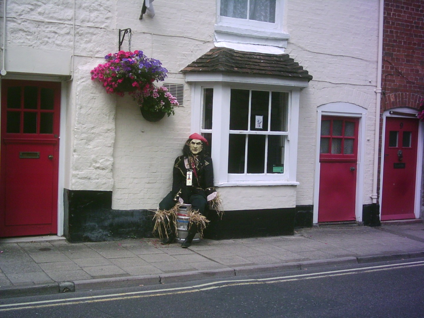Scarecrow in soldiers dress Outside the Duke of Wellington Pub in Wareham © aka