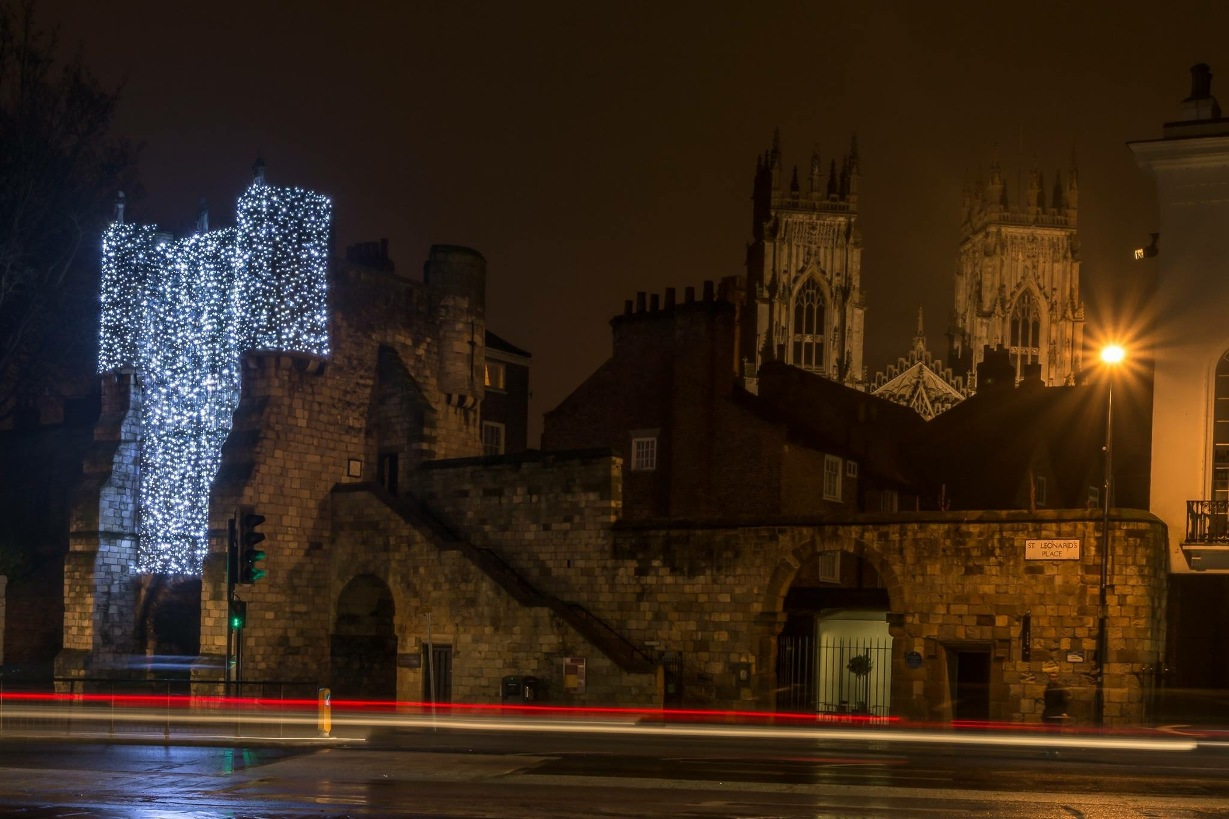 © Make It York and the York BID showing feative white lights on the city walls