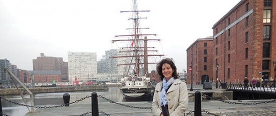 One of our editors at Liverpool Docks