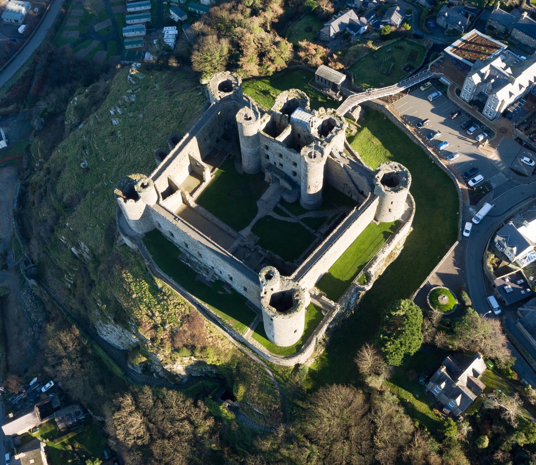 Harlech Castle taken from a Drone © Gwynedd Council