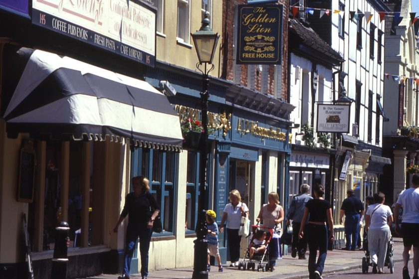 People shopping on Rochester High Street © Visit Kent