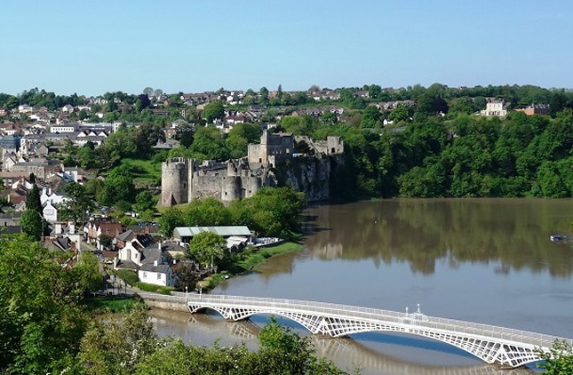 St Mary's Chepstow showing the town, the Castle and the 1816 bridge© John Burrows