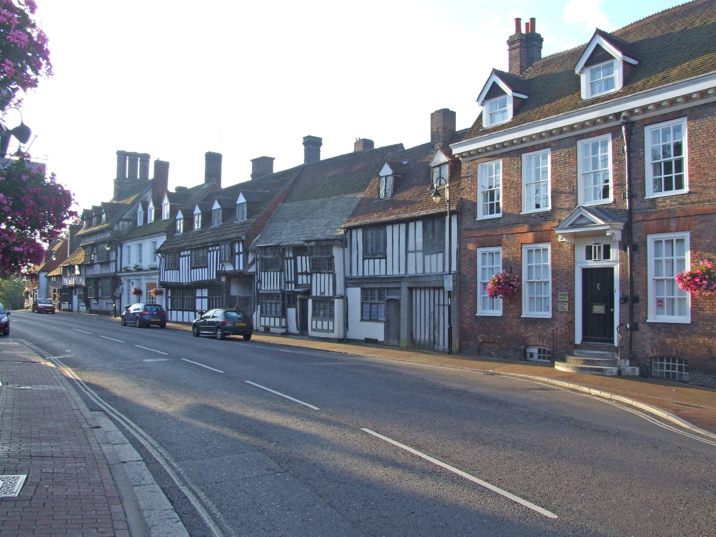 The historic High Street with half-timbered buildings © East Grinstead Town Promotions