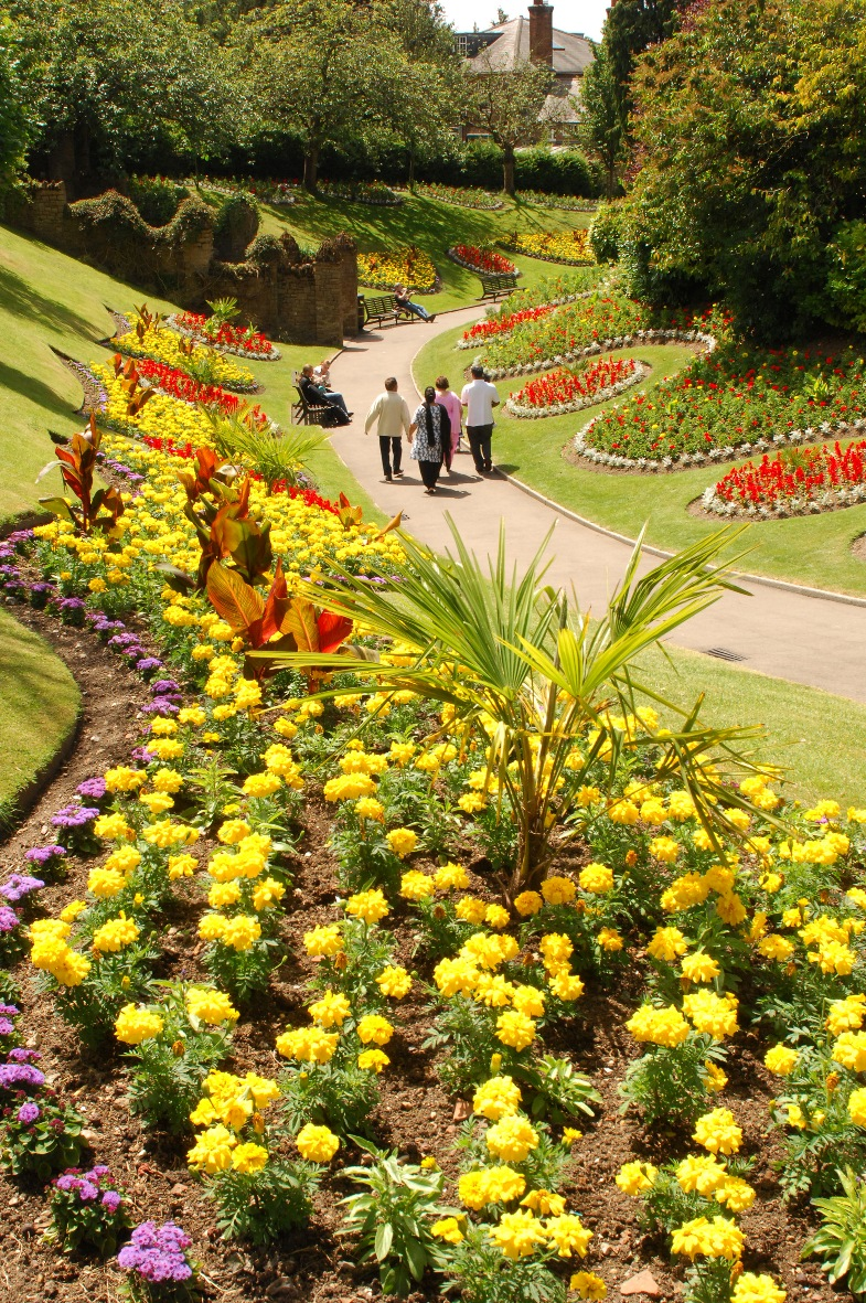 Guildford castle grounds showing spring flowers © Guildford Borough Council