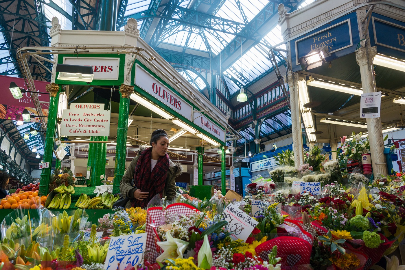 Flower stall in Leeds City Market, © Diana Jarvis