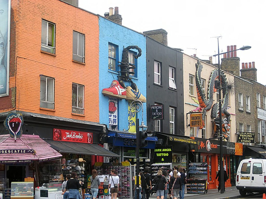 Shops and brightly painted buildings on Camden High St by jorismonen on pixabay