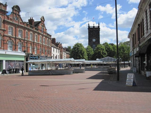 Burton on Trent - Market Square and St.Modwens Parish Church