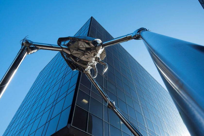 HG Wells Tripod sculpture representing a Martian invader from War of the Worlds © Woking TC