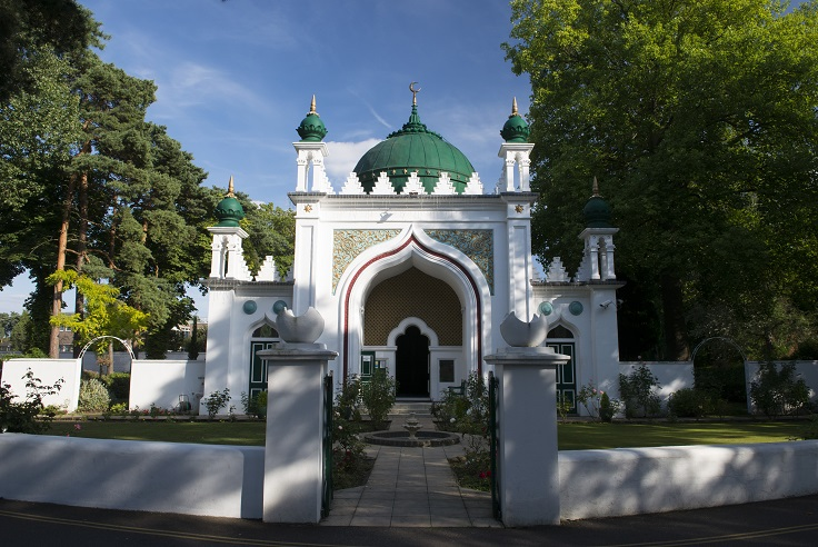 Shah Jahan Mosque, Maybury, Woking with green dome