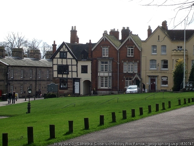 Darwin's timber-framed house in Cathedral Close Lichfield